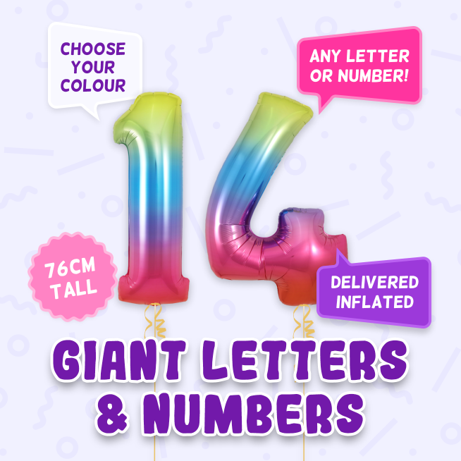 A 76cm tall 14th Birthday, Letters & Numbers balloon example