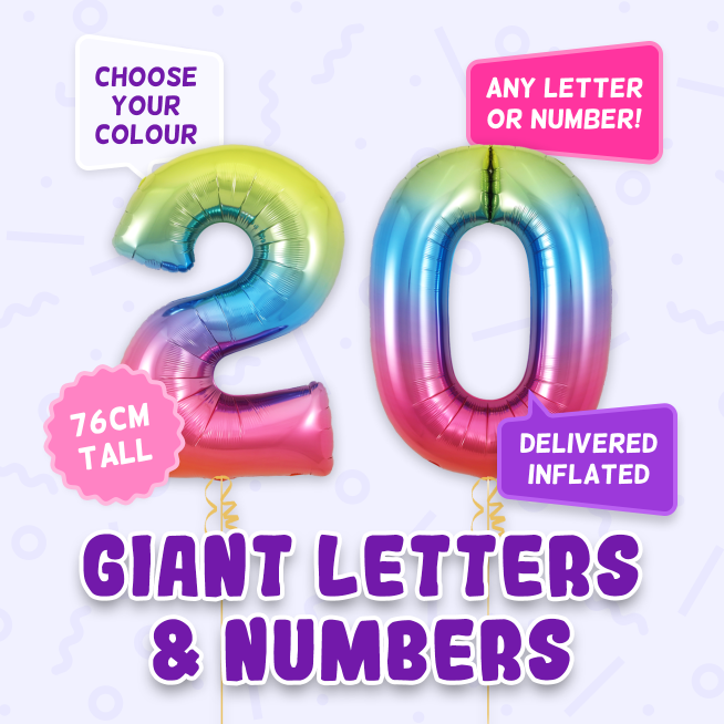 A 76cm tall 20th Birthday, Letters & Numbers balloon example