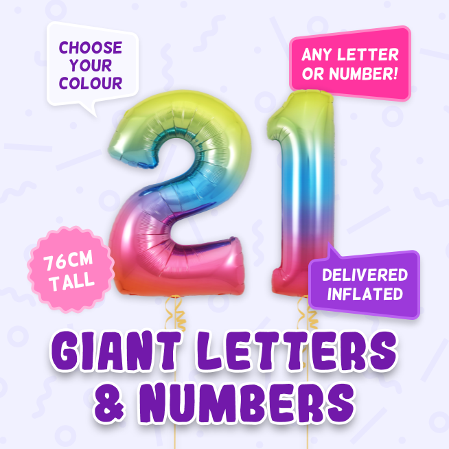 A 76cm tall 21st Birthday, Letters & Numbers balloon example