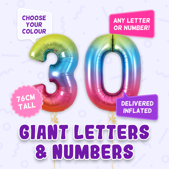 A 76cm tall 30th Birthday, Letters & Numbers balloon example