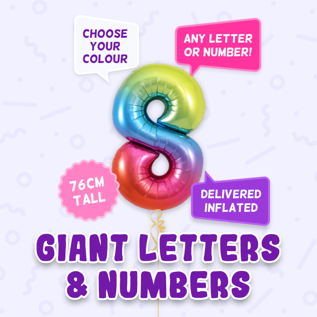 A 76cm tall 8th Birthday, Letters & Numbers balloon example