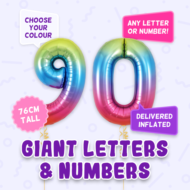 A 76cm tall 90th Birthday, Letters & Numbers balloon example